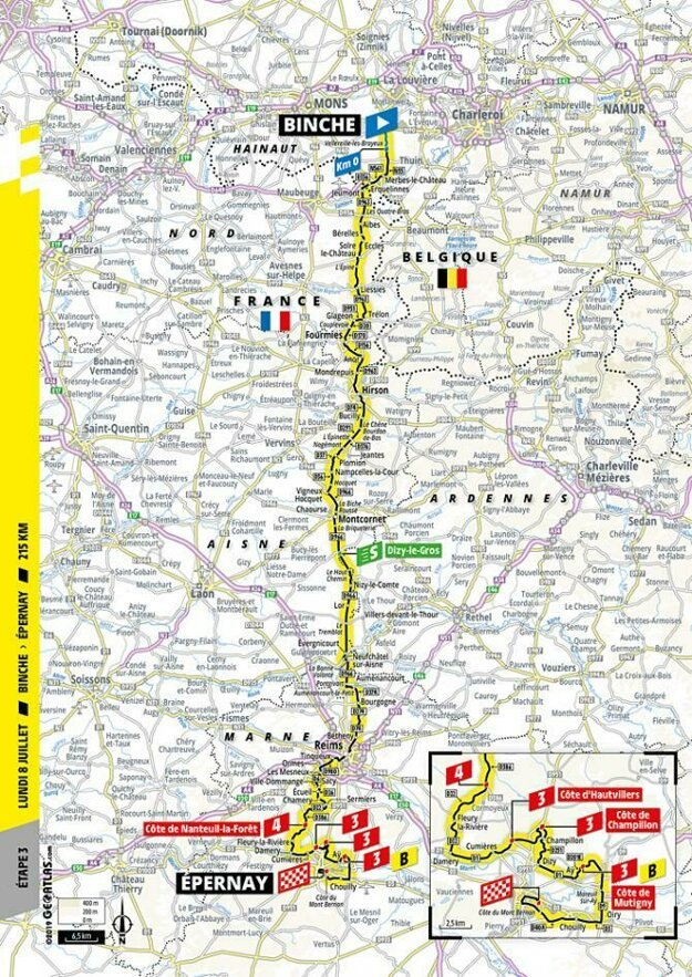 Trasa 3. etapy Tour de France.