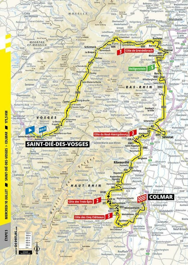 Trasa 5. etapy Tour de France 2019.
