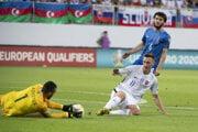 Momentka zo zápasu Azerbajdžan - Slovensko.