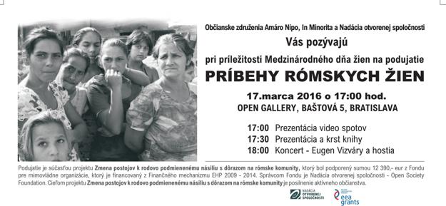 Pozvánka na diskusiu spojenú s projekciou dokumentárnych filmov Príbehy rómskych žien.