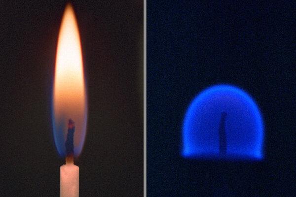 Plameň na Zemi (vľavo) a plameň na obežnej dráhe planéty (vpravo).