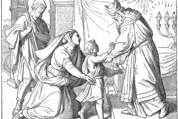 Anna privádza Samuela k Elimu; knižná ilustrácia z roku 1873.