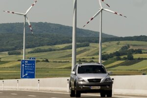 Veterné turbíny pri rakúskej obci Kittsee.
