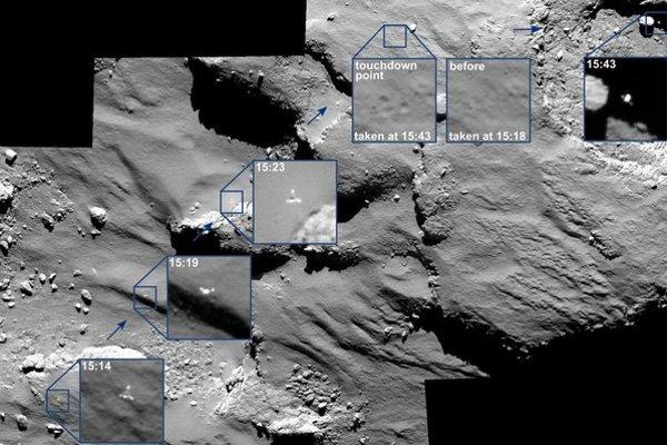 Pristávací modul Philae na kométe poskakoval. ⋌FOTO – ESA