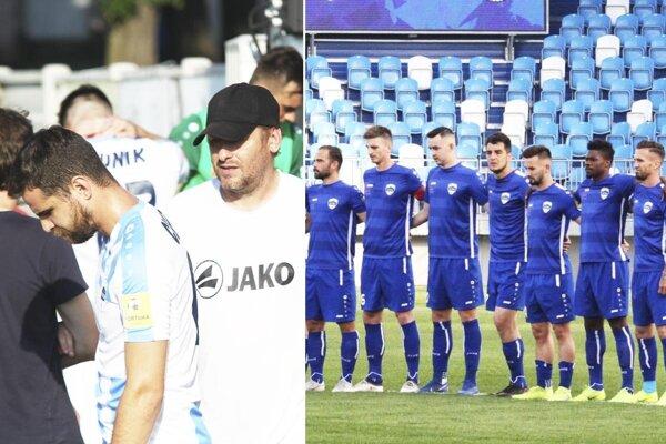 Márius Charizopulos (vľavo) opúšťa Nitru. Zo sedmičky hráčov (na snímke v modrých dresoch) zostali aktuálne pod Zoborom iba Pavol Farkaš a Marek Fábry.