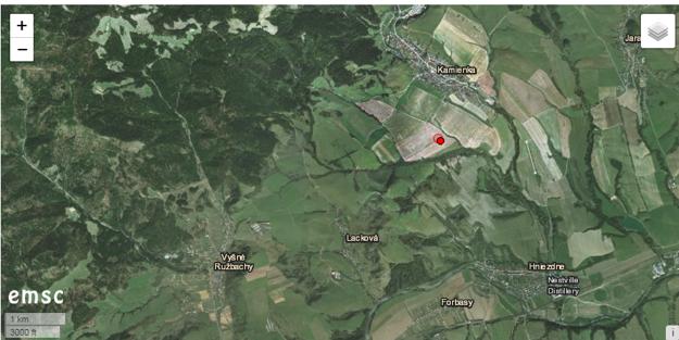 Mapa, ktorá ukazuje epicentrum sobotňajšieho zemetrasenia.