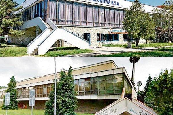 Športová hala v Trnave (hore) a v Trenčíne.