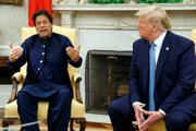 Pakistanský premiér Imran Chána na návšteve v bielom dome s prezidentom USA Donaldom Tumpom.