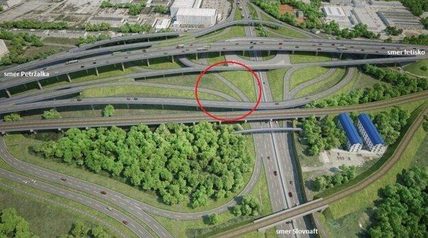 Prvá etapa prestavby mimoúrovňovej križovatky pod Prístavným mostom sa týka dvoch zjazdov v smere na Slovnaft.