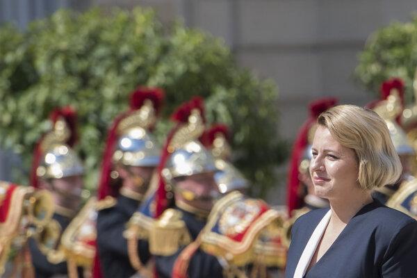 Zuzana Čaputová na stretnutí s francúzskym prezidentom Emmanuelom Macronom.