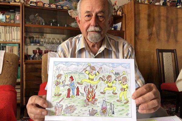 Sergius Igor Laborecký z Lipian, ktorý sa kresleniu vtipov s hasičskou tematikou venuje 50 rokov s jedným zo svojich kreslených vtipov.