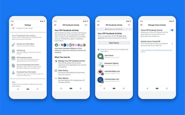 Takto bude nástroj s názvom Off-Facebook Activity vyzerať v aplikácii na smartfónoch. Zobrazí weby a iné appky, ktoré Facebooku posielajú údaje. Umožní sledovanie vypnúť a odpojiť zozbierané údaje od vášho účtu.