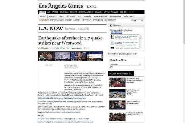 Správu o zemetrasení vygeneroval algoritmus.