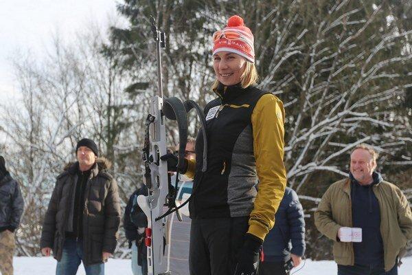 Slovenská biatlonistka Anastasia Kuzminová počas otvorenia novej biatlonovej strelnice v lyžiarskom areáli v Králikoch.