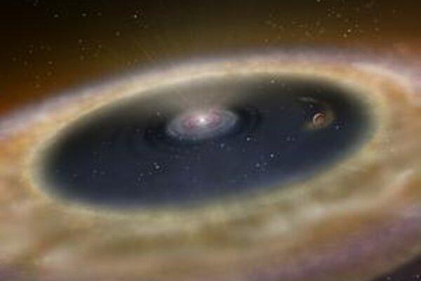 Mladá planetárna sústava sa ešte iba rodí.