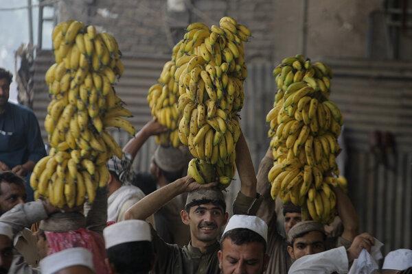 Pakistanskí predavači banánov ponúkajú trsy ovocia na trhu v Pešávare.
