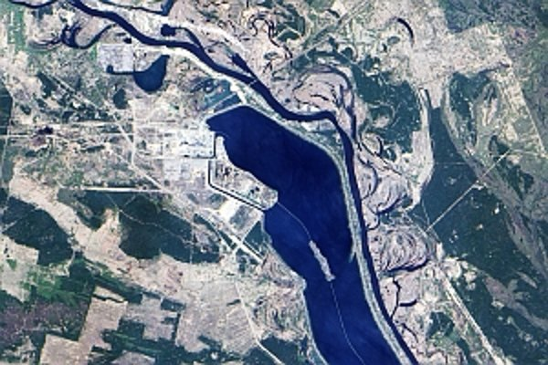 Černobyľská jadrová elektráreň na snímke z kozmu.