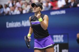 Bianca Andreescuová sa raduje vo finále US Open 2019 proti Serene Williamsovej.