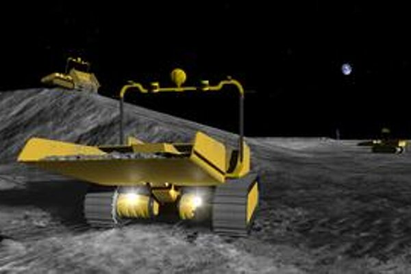Umelecká vízia robotických stavbárov na Mesiaci.