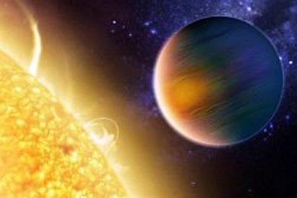 Umelecká vízia HD 189733A a jej planéty HD 189733b resp. HD 189733Ab. Teraz už vieme, že jej atmosféra obsahuje aj oxid uhličitý, objavený vôbec prvý raz v prípade exoplanéty.