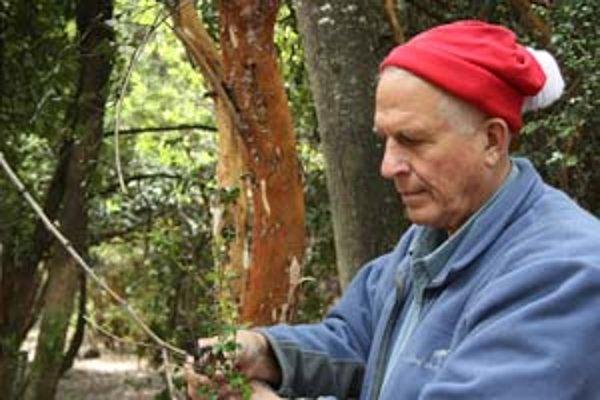 Gary Strobel pri odbere rastlinných vzoriek v patagónskom dažďovom pralese.