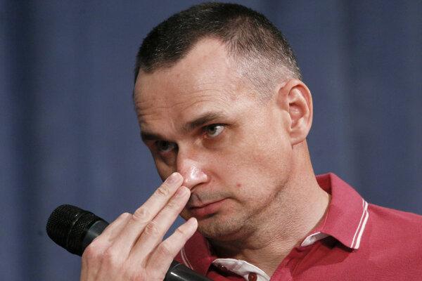 Oleg Sencov po prepustení na slobodu.