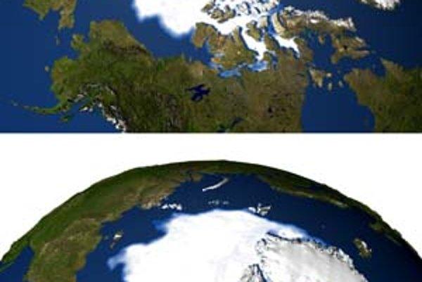 Ľadová pokrývka Arktídy zo septembra roku 1979 a 2005.