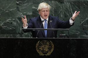 Britský premiér Boris Johnson pri svojom utorkovom prejave na Valnom zhromaždení OSN.