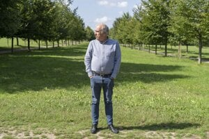 Hlavný záhradník Versailles Alain Baraton medzi radmi stromov.