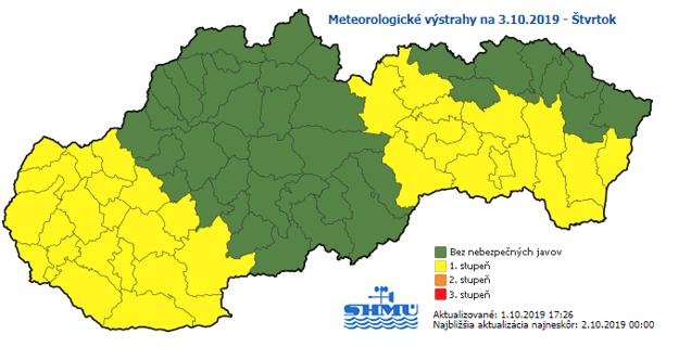 SHMÚ vydal na štvrtok výstrahu pred silným vetrom pre časť Prešovského a celý Košický kraj.