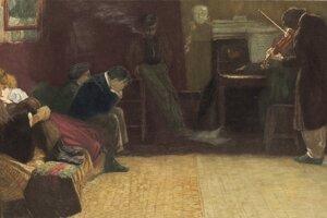 Beethoven muzicíruje pred priateľmi na obraze Lionella Balestrieriho.