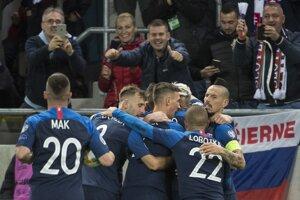 Momentka zo zápasu Slovensko - Wales (kvalifikácia EURO 2020).