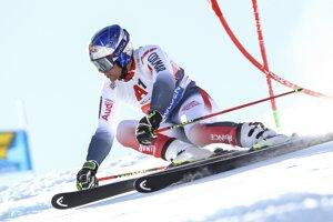 Alexis Pinturault počas 1. kola obrovského slalomu v Söldene.