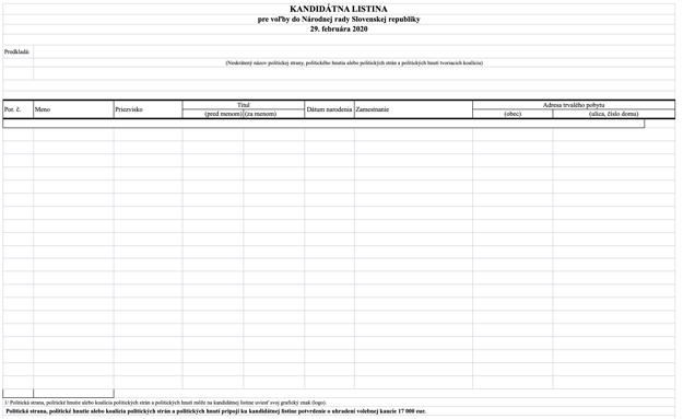 Vzor kandidátnej listiny pre parlamentné voľby 2020.