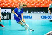 Viktória Grossová počas zápasu Slovensko - Dánsko na MS vo florbale žien 2019.