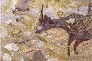 Detail loveckej scény, na ktorej je označených šesť postáv podobných ľuďom.