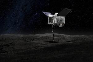 Umelecké zobrazenie sondy OSIRIS-REx pri odoberaní vzoriek z planétky Bennu.