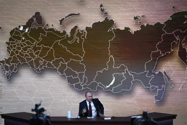 Ruský prezident Vladimir Putin v priebehu svojej výročnej tlačovej konferencie.