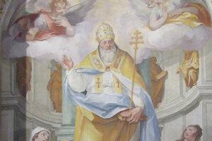 Sv. Silvester – oltárny obraz z r. 1727 v Sanktuáriu Svätých schodov v Ríme.