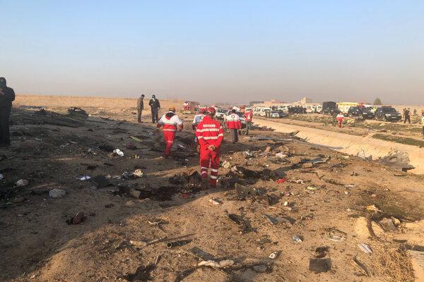 Na snímke pohľad na trosky havarovaného lietadla v Teheráne 8. januára 2020.