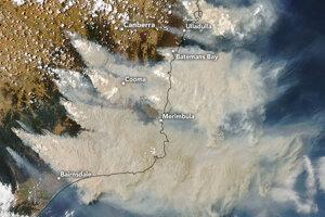 Juhovýchodná Austrália na začiatku roka 2020. Požiare stále ničia časti krajiny.
