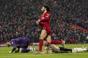 Mohamed Salah po strelenom góle do siete Manchestru United.