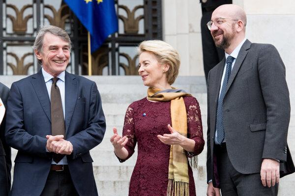 David-Maria Sassoli, Ursula von der Leyen, Charles Michel.