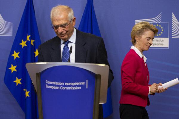Predsedníčka Európskej komisie Ursula von der Leyenová a vysoký predstaviteľ EÚ pre zahraničnú a bezpečnostnú politiku Josep Borrell.