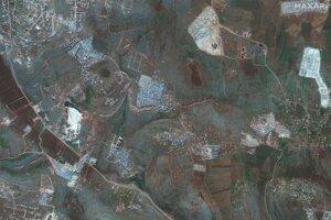 Satelitná snímka zobrazuje oblasť blízko mesta Kafaldin na sever Sýrie blízko hraníc s Tureckom 5. februára  2019.