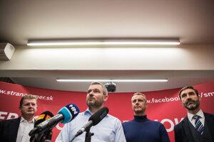 Voľby 2020: Peter Pellegrni na brífingu po zverejnení prvých volebných odhadov.
