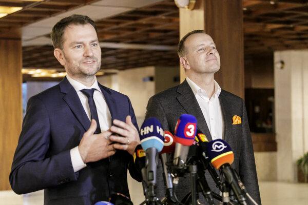 Voľby 2020: líder OĽaNO Igor Matovič, poverený zostavením vlády a predseda hnutia Sme rodina Boris Kollár