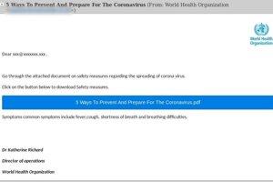 Podvodná správa, ktorá sa vydáva za oficiálnu zo Svetovej zdravotníckej organizácie.