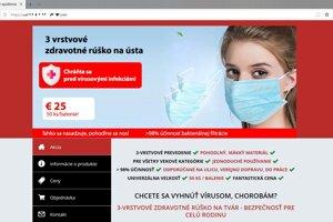 Stránka podvodného obchodu so zdravotnými pomôckami.