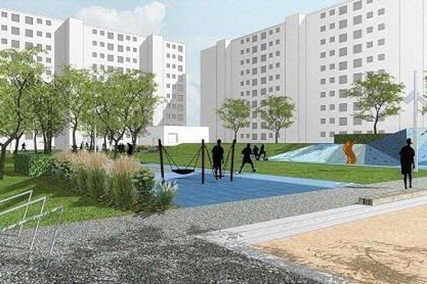 Vizualizácia budúceho vzhľadu sídliskového dvora.